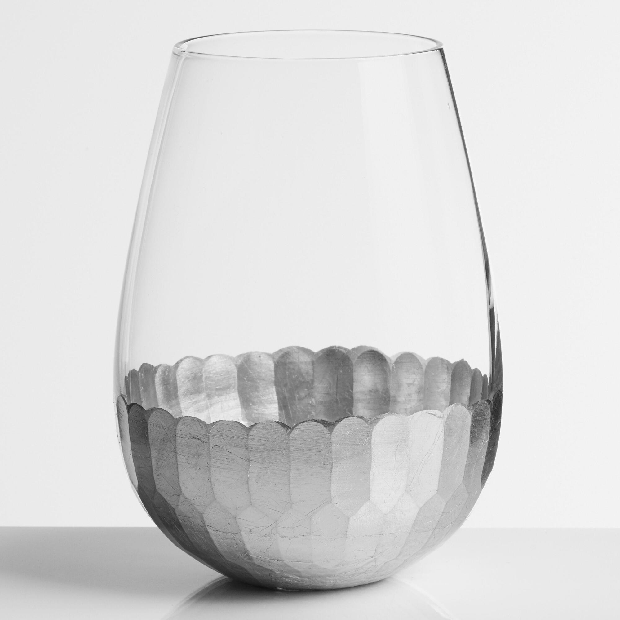 Silver faceted stemless wine glasses set of 4 world market - Stemless wine goblets ...