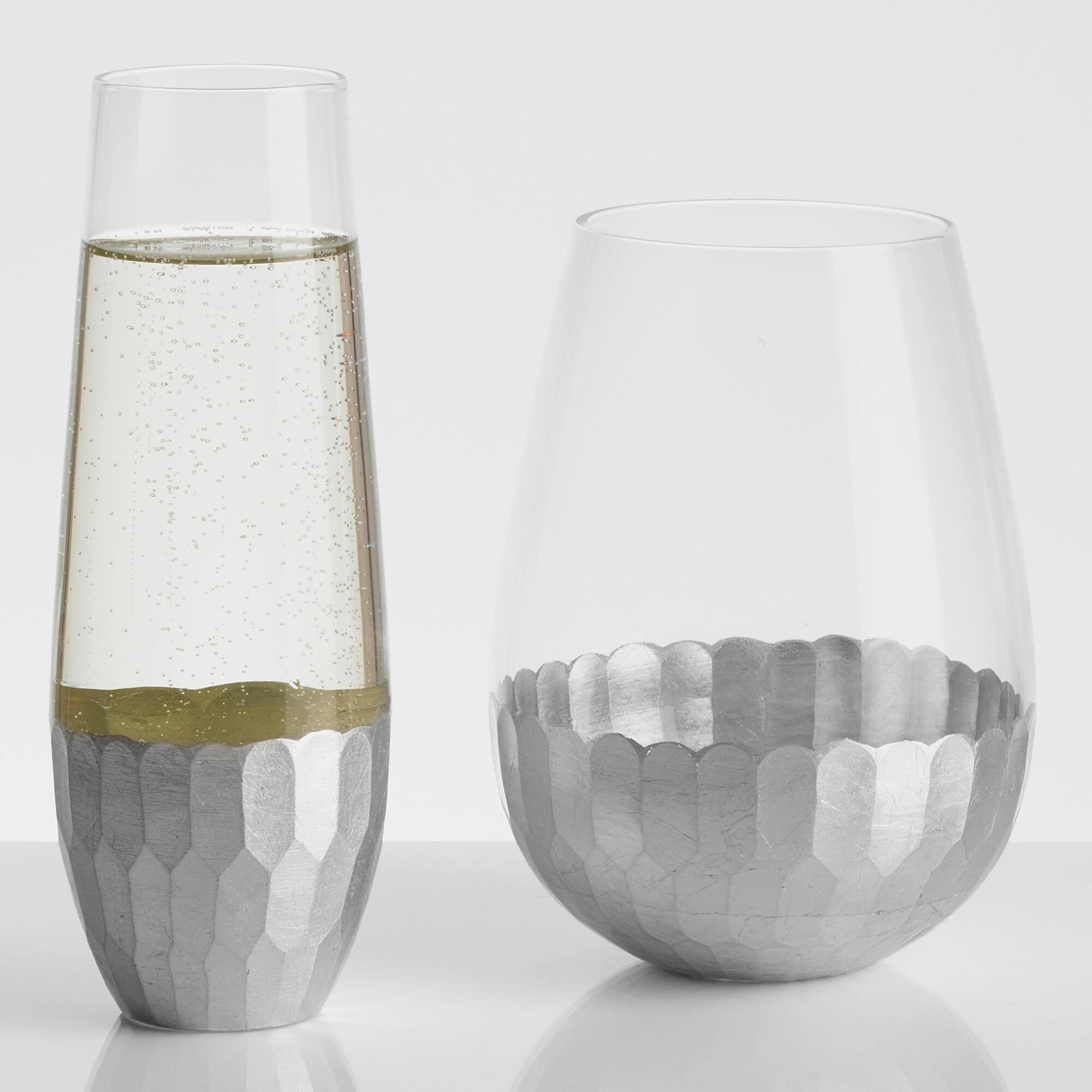 Silver stemless glassware collection world market - Stemless wine goblets ...