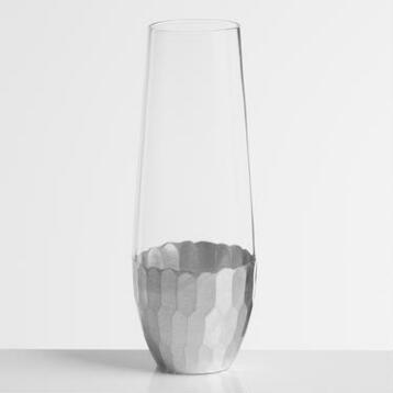 Silver Faceted Stemless Champagne Flutes, Set of 4