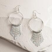 Silver Fringe Drop Hoop Earrings