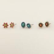 Flower Stud Earrings, Set of 3