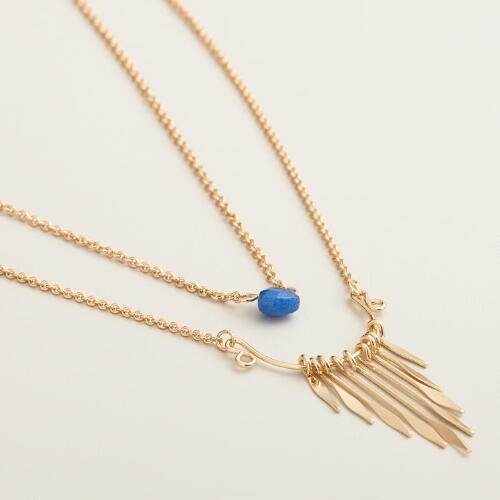 Gold with Blue Stones and Fringe Necklaces, Set of 2