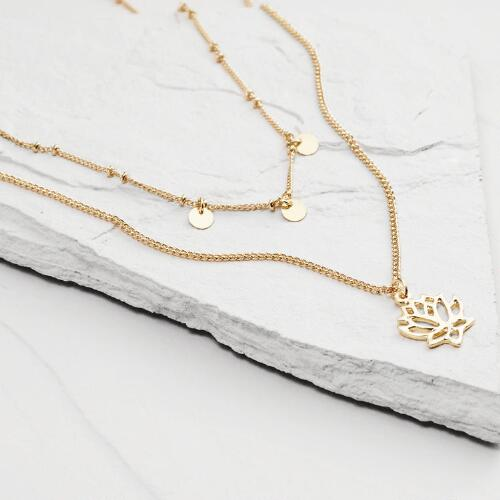 Gold Coin and Lotus Necklaces, Set of 2