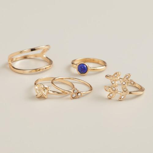 Gold and Silver Leaf Midi Rings