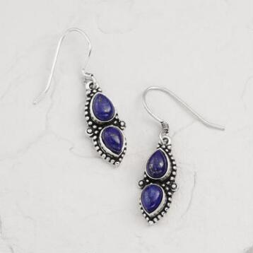 Silver Lapis Etched Drop Earrings