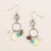 Silver Semi-Precious Rose Quartz & Tiger Eye Dangle Earrings
