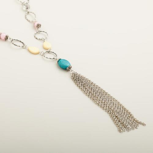 Silver Chain with Stone and Tassel Necklaces