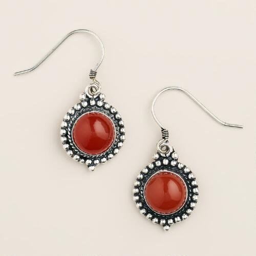 Silver Carnelian Round Drop Earrings