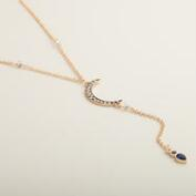 Gold Crescent Moon Lariat Necklace