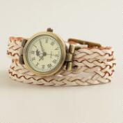 Ivory Braided Leather Wrap Watch