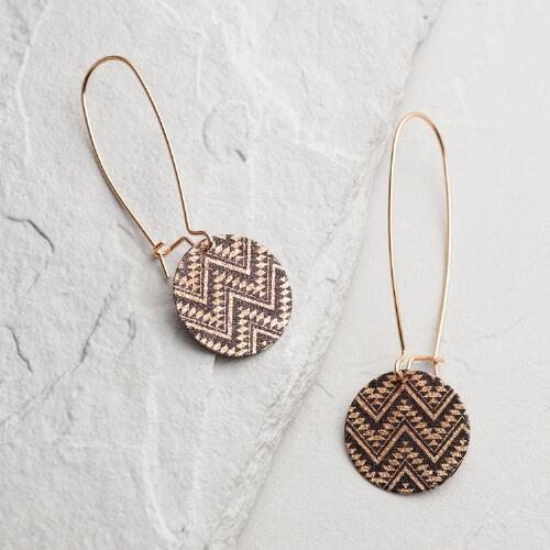 Gold Circle Chevron Drop Earrings