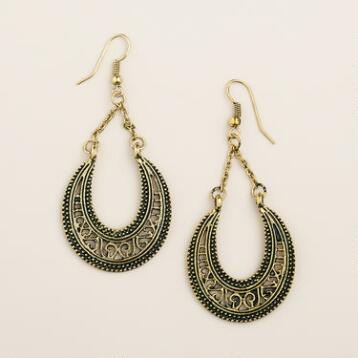Gold Etched Crescent Chain Dangle Earrings