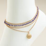 Gold and Beads Dangle Anklet