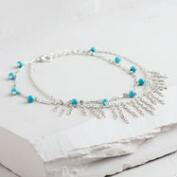 Silver and Turquoise Fringe Anklet