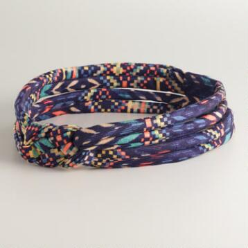 Blue Checkered Jersey Infinity Knot Headband
