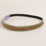 Turquoise and Bronze Metallic Beaded Headband