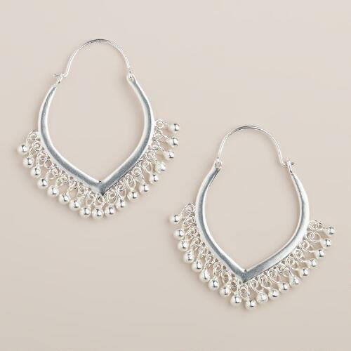 Silver Ball Tribal Dangle Earrings