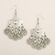 Silver Statement Coin Drop Earrings
