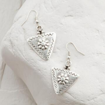 Silver Etched Triangle Drop Earrings