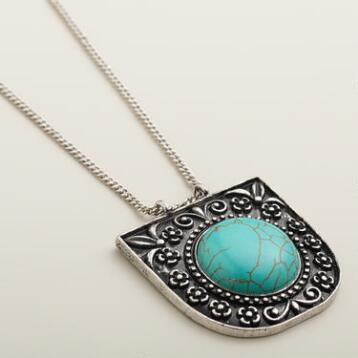Long Silver and Turquoise Pendant Necklace
