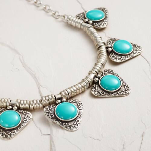 Silver and Turquoise Triangle Statement Necklace