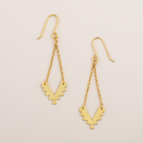 Gold Tribal Drop Earrings