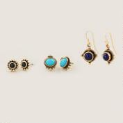 Gold Tribal Stud and Dangle Earrings, Set of 3