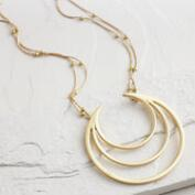 Gold Crescent Pendant Statement Necklace