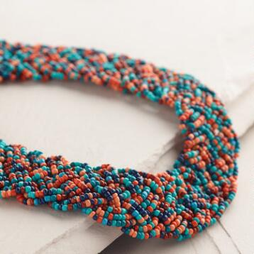 Soft Coral and Black Bead Braided Necklace