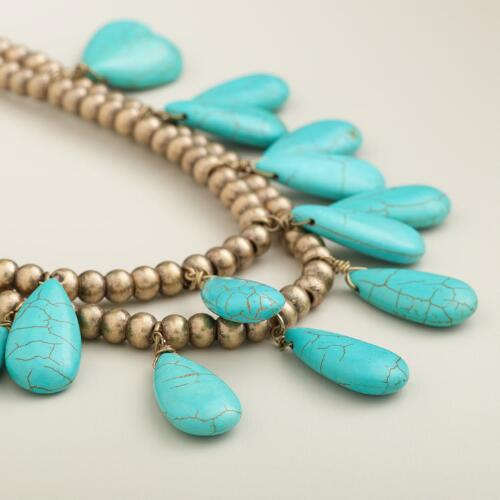 Turquoise Teardrop  Suede Necklace