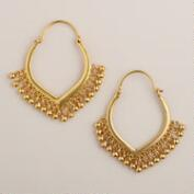 Gold Ball Tribal Dangle Earrings