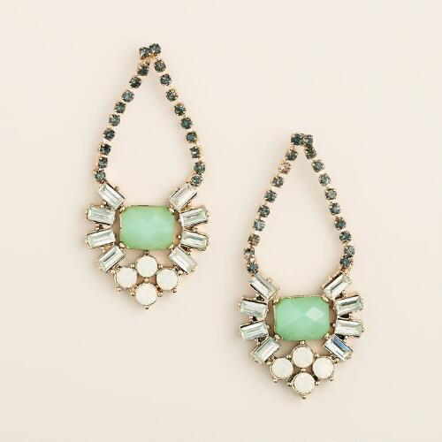 Mint Rhinestone Estate-Style Drop Earrings