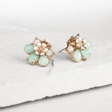 Pacific Opal Flower Statement Stud Earrings
