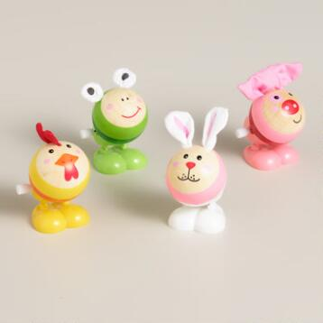 Easter Animals Wooden Wind-Up Toys, Set of 4