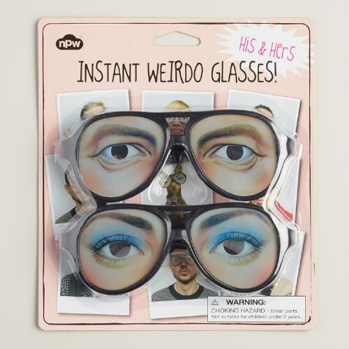 His and Hers Instant Weirdo Novelty Glasses, 2-Pack
