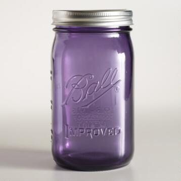 Purple Glass 1-Quart Heritage Ball Jars, Set of 6