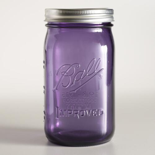Purple Glass 1-Quart Heritage Ball Wide Mouth Jars, Set of 6