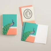 Queen Mum and Peacock Cards, Set of 16