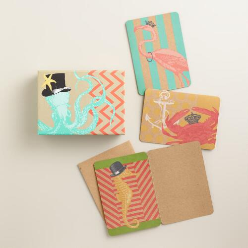 Sea Creatures Boxed Notecards, Set of 12