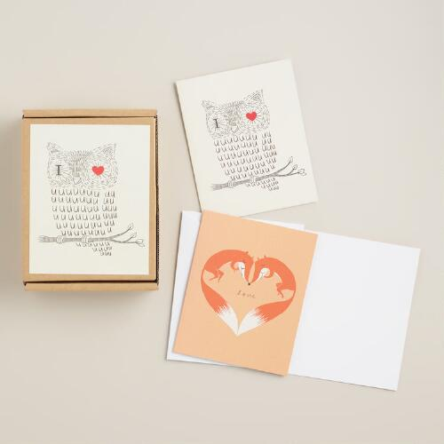 Owl and Fox Love Boxed Notecards, Set of 16