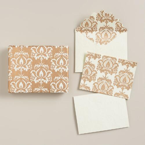 Gold Print Boxed Handmade Notecards, Set of 8