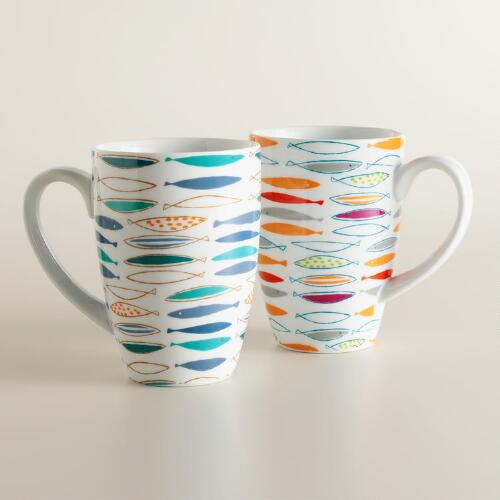 Mod Fish Mugs, Set of 2