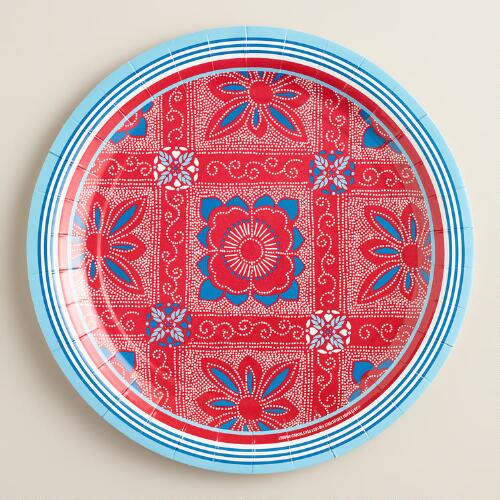 Large Americana Block Party Plates, 12-Count