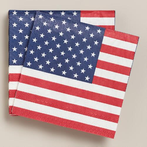 United States Flag Beverage Napkins  20-Count