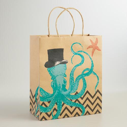 Large Octopus Kraft Gift Bags, Set of 2