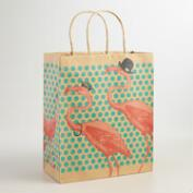 Large Flamingo Kraft Gift Bags, Set of 2