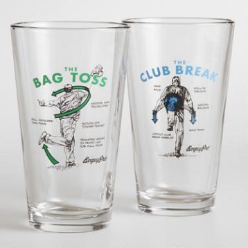 Bag Toss Beer Glasses, Set of 2