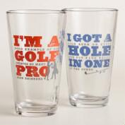 Golf Pro Beer Glasses, Set of 2