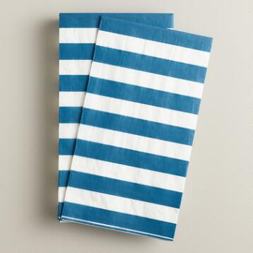 Blue and White Stripe Guest Napkins, 16-Count