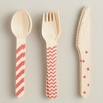 Red Stamped Wood Utensils